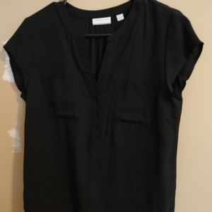 Black short sleeve rolled blouse